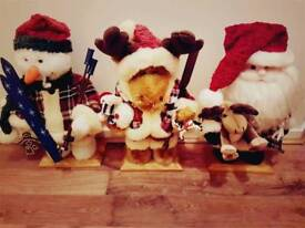 Free standing Santa, Rudolph and snowman