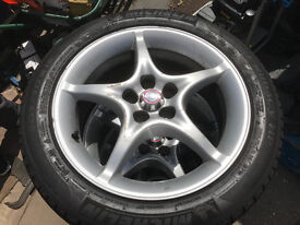 5 stud set of alloy wheels with all good tyres 16 inch