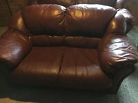 2 & 3 Maroon/Brown Leather Sofa