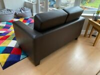 Small brown faux leather sofa