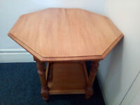 Oak table, octagonal hall table
