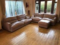 2 X 3 Seater Leather Sofas + Footrest Good Condition