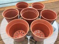 6 + 1 Medium Plastic Outdoor Planter Pots, garden, patio, terrace, allotment