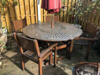 Garden Table, Lazy Suzan, 6 Chairs, Parasol and stand