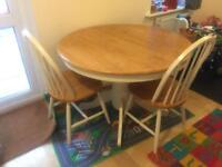 Extendable Dining table & 2 x Chairs