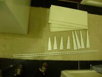 Shelf x 4, white, support brackets and metal poles