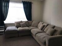 Cream fabric pillowback corner sofa for sale
