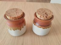Pair of Earthenware Storage Jars, Canisters, Vases from Chris Aston's Elkesley Studio Pottery, Notts