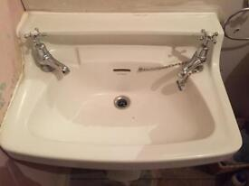 Twfords Traditional Basin with Burlington Claremont Taps