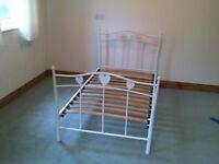 White Metal Single Bed Frame ( no mattress )