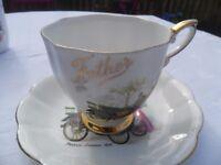 Tea Cup & Saucer Fine English Bone China Royal Standard England FATHER Design Gold Trim Vintage