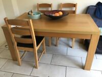 Wood dining table and 6 chairs