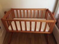 Baby pine swinging crib with mattress