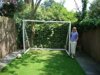 8 x 6 ft Fun Football Goals - white PVC - good condition