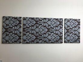 Jacquad print set of 3 wall frame