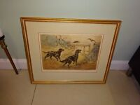 Henry Wilkinson Signed Limited Edition Print Flat Coat Retrievers & Partridge