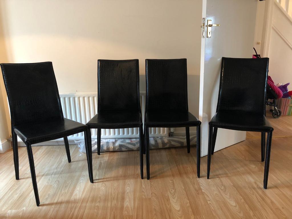 Brilliant Super Stylish Dwell Dining Chairs X 6 Black Faux Crocodile Leather Must Go By 30 10 In Kingston London Gumtree Creativecarmelina Interior Chair Design Creativecarmelinacom