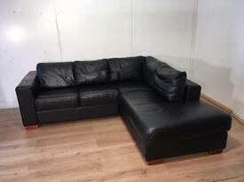 Amazing Black real leather corner sofa with free delivery within 10 miles