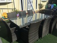 Rattan 8 seater table and chairs