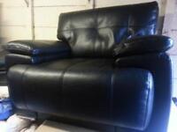 3 piece black leather suite