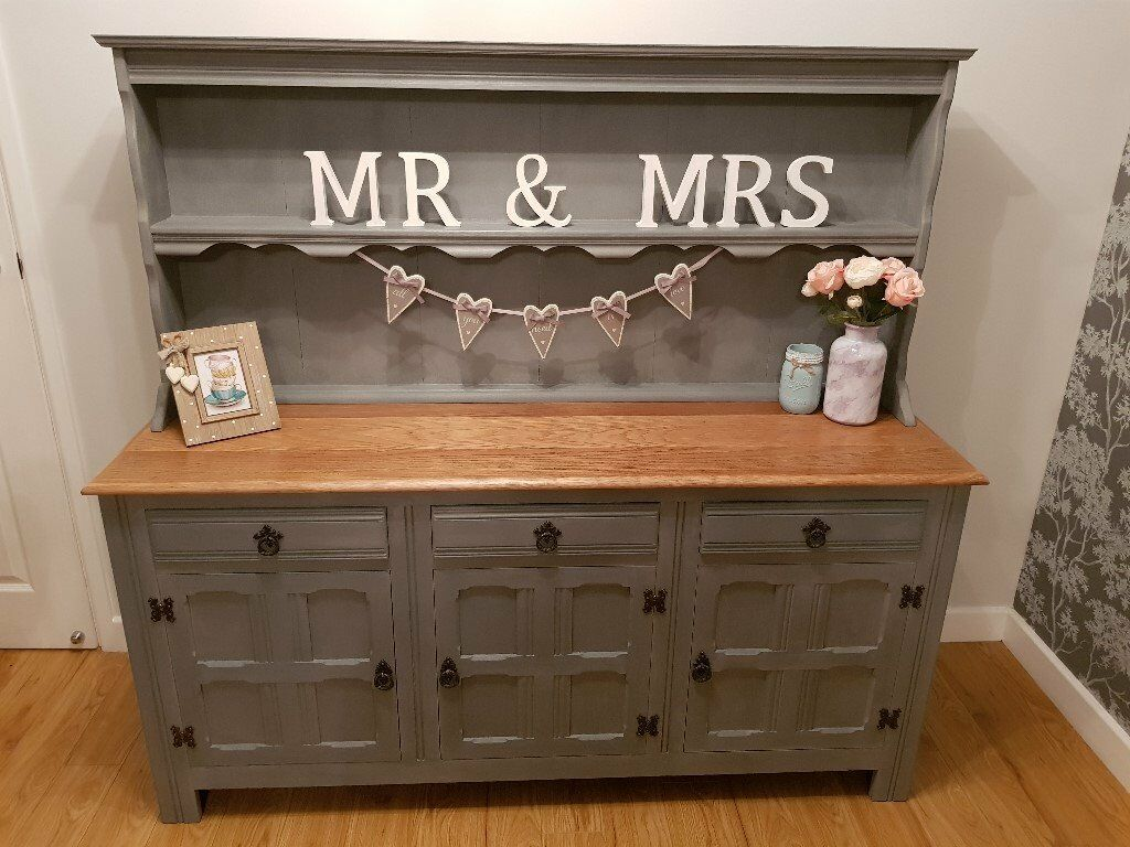 Oak Wooden Top French Welsh Dresser Sideboard In Grey Shabby Chic Upcycled