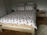 Cream Solid Wood King Bed Plus Bedside Tables