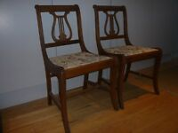 Pretty pair of upright chairs with harp backs