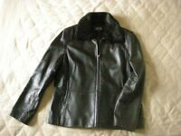 Lovely chocolate brown soft leather ladies jacket with detachable faux fur collar