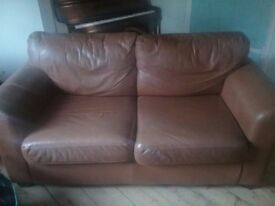 Leather sofa, tan, two seater.