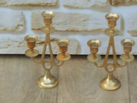 2 Candle Holders solid brass (Delivery)