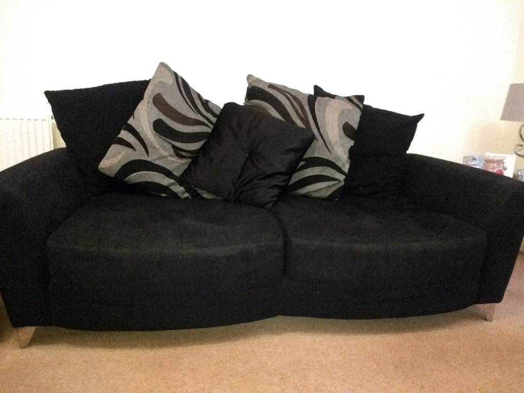 Black 2 seater couch, cuddle couch, foot stool,