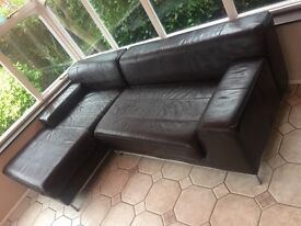 Brown Leather L Shaped corner Sofa