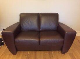 2x Brown Leather Sofas (2+3 seat)