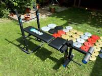 Bench and weights (150kg)