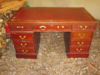 - Reproduction mahogany desk in need of renovation - shabby chic project - being sold for charity