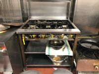 Stainless steel 5 burner commercial cooker with spice stand