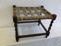 Dark oak farm house foot stool with barley twist legs