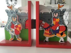 Children's medieval style book ends