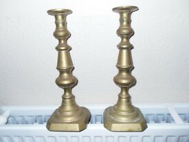 PAIR OF BRASS CANDLESTICKS/STANDS