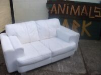 White Leather 2 Seat Sofa Delivery Available £30