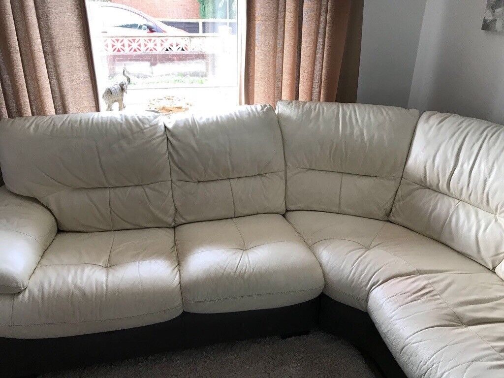 White And Brown Leather Corner Sofa And Round Swivel Chair With Two Matching Foot Stools In Walsall West Midlands Gumtree