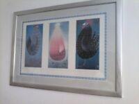FINAL REDUCTION !!! McKenzie Thorpe Framed Print. CHICKENS -Hayley, Lorraine & Lawrence