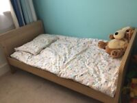 Mamas & Papas Rialto cot/toddler bed, chest of drawers with change table top, and wardrobe