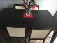 Dark brown oak dinning table & 6 chairs