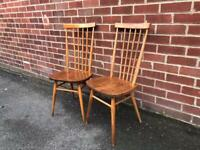 Rare ERCOL 608 Elm Dining Chairs Stuck Back Mid Century RETRO 60s 70s