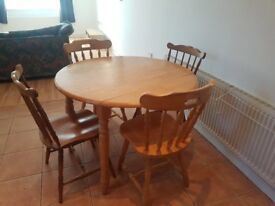 Reduced Pine drop leaf round dining room table and chairs reduced from £50 to £40 ono
