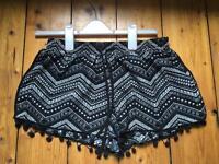 Primark size 8, black & white Aztec print shorts