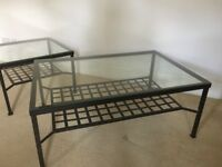 Two Iron Coffee Tables UNUSED with thick glass from John Lewis