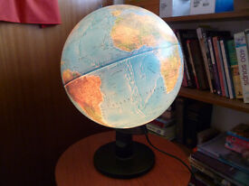 "World globe, 12"" diameter, illuminated"