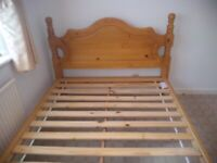 Solid Pine Double Bed Frame Roll Bar End - Heavy Duty with mattress